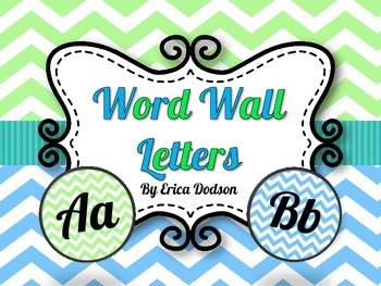 Lime & Turquoise Chevron Alphabet Word Wall Letters