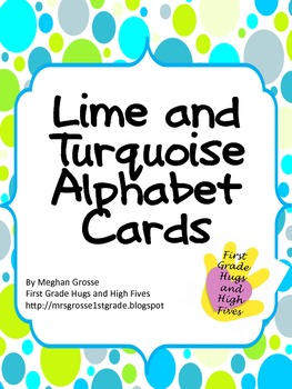 Lime and Turquoise Dot Alphabet Cards