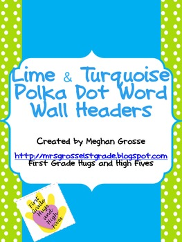 Lime and Turquoise Polka Dot Word Wall Headers