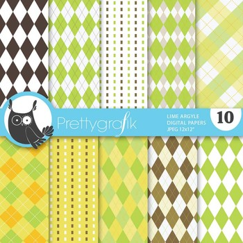 Lime argyle digital paper, commercial use, scrapbook papers - PS515
