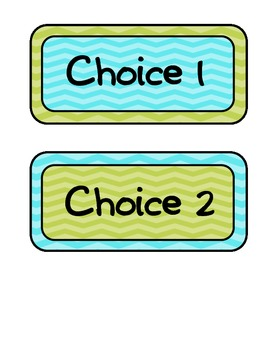 Lime green, Aqua blue, Chevron lunch choices /student numbers with chalk frames