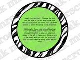 Bulletin Board Headers: Lime green and Zebra Print circles (editable)