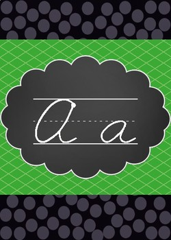 Lime green and black cursive alphabet