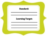 Lime green standard and learning target sign
