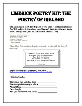 Free St Patrick's Day Limerick Poetry Kit