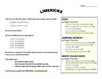 Limerick Writing Scaffold