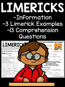 Limericks- Characteristics, Examples, Comprehension, Poetry, Middle School