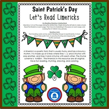 Limericks for St. Patrick's Day - Reading, Drawing, Coloring, & Writing
