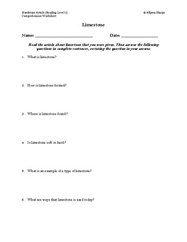 Limestone Article (Reading Level 1) Comprehension Worksheet