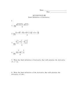 Limit Definition of Derivative Quiz