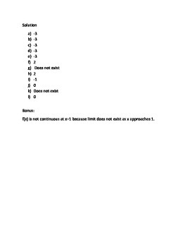 Limit Worksheet 1 - Left and Right Limit from Graph