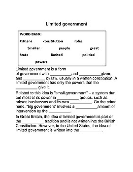 Limited Government -- CLOZE Reading