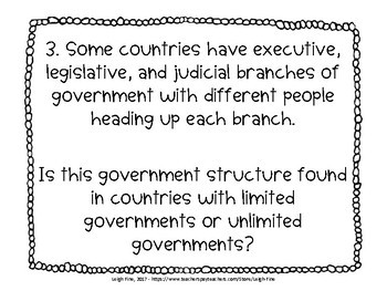 Limited and Unlimited Government Task Cards