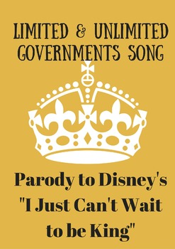 Limited and Unlimited Governments Parody to I Just Can't Wait to be King