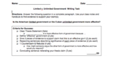 Limited v. Unlimited Government  Writing Task