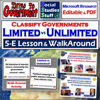limited vs unlimited governments walkabout activity and 5 e lesson. Black Bedroom Furniture Sets. Home Design Ideas