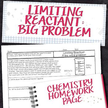 Limiting Reactant Big Word Problem Chemistry Homework Worksheet