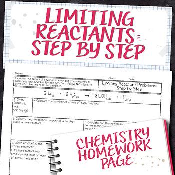Limiting Reactant Problems Step by Step Chemistry Homework Worksheet