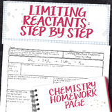 Limiting Reactant Problems Step by Step Chemistry Homework Worksheet