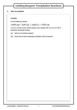 Limiting Reagent - Precipitation Reactions