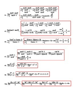 Limits Algebraically Tiered Worksheet with KEY - 50+ problems!