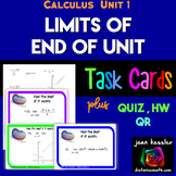 Calculus Limits End of Unit Task Cards, QR  HW  5 versions