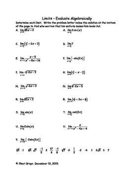 Limits - Evaluating Algebraically