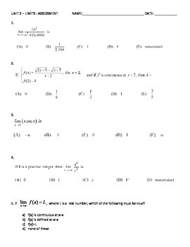 Limits Exam - AP Calculus - with KEY