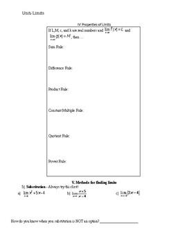 Limits Unit - Lesson Plans