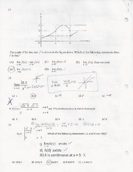 Limits Unit Review -  AP Calculus Multiple Choice Questions - with KEY