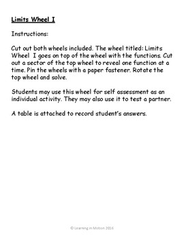 Calculus Limits Wheel I