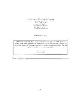 Limits and Continuity Examination