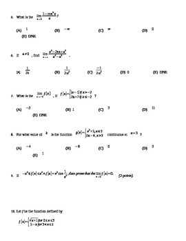 Limits and Continuity Unit Test