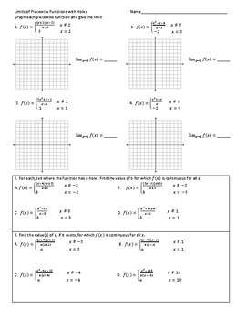 Limits of Piecewise Functions with Holes
