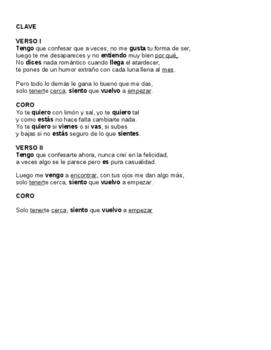 Limón y sal stem changing verb Spanish practice Editable version Music