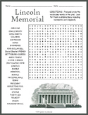 Lincoln Memorial Word Search Worksheet
