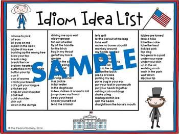 Lincoln & Washington Literal Idiom Art Activity