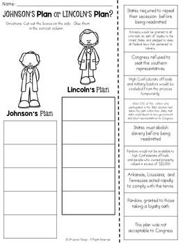 Lincoln and Johnson's Plans for Reconstruction: Cut and Paste Sorting Activity