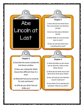 Magic Tree House ABE LINCOLN AT LAST - Discussion Cards