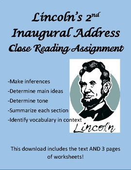 Lincoln's 2nd Inaugural Address -Analysis Wkst- Informational Text