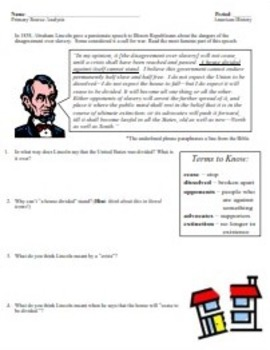 "Lincoln's ""A House Divided"": Speech Analysis"