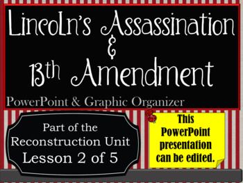 Lincoln's Assassination & Thirteenth Amendment PowerPoint and Graphic Organizers