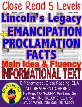 Abraham Lincoln & Emancipation Proclamation FACTS Close Read 5 levels 2 info tx