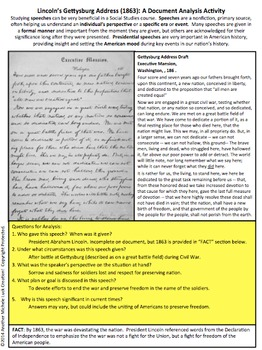 Lincoln's Gettysburg Address American Speeches Document Analysis Activity