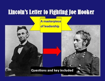 Civil War: Lincoln's Letter to Fighting Joe Hooker ( & questions & key)