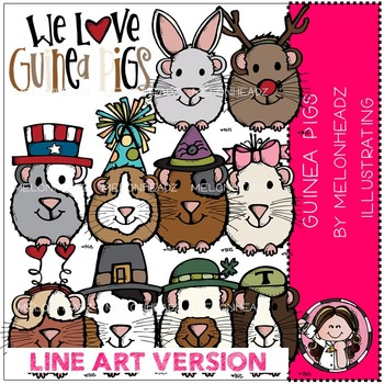 Guinea pigs clip art - LINE ART- by Melonheadz