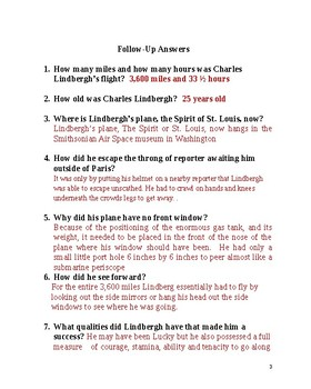 Lindbergh 1927 Plane Had No Front Window: 1 page literacy w follow-up