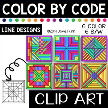 Line Designs Color by Code Clip Art