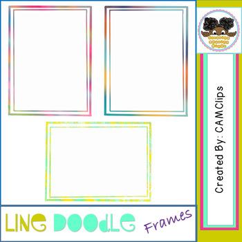 Line Doodle Frames - watercolours - CAMClips