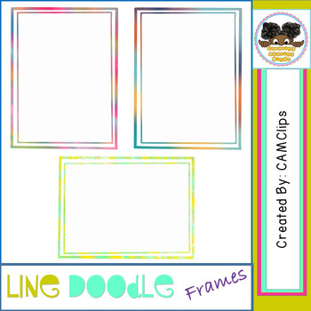 Line Doodle Frames - watercolours - CAMClips